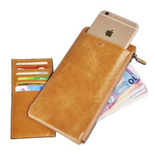 Fancystyle Vintage Men Oil Wax Leather Long Ultrathin Phone Wallet Zipper Around with Coin Pocket Extra