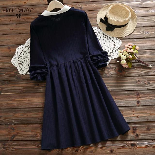 Vestidos Verano 2019 Blue Pink Japan Style Mori Girl Sweet Dress Women Ruffles Long Sleeve Cotton Linen Vintage Dresses 5