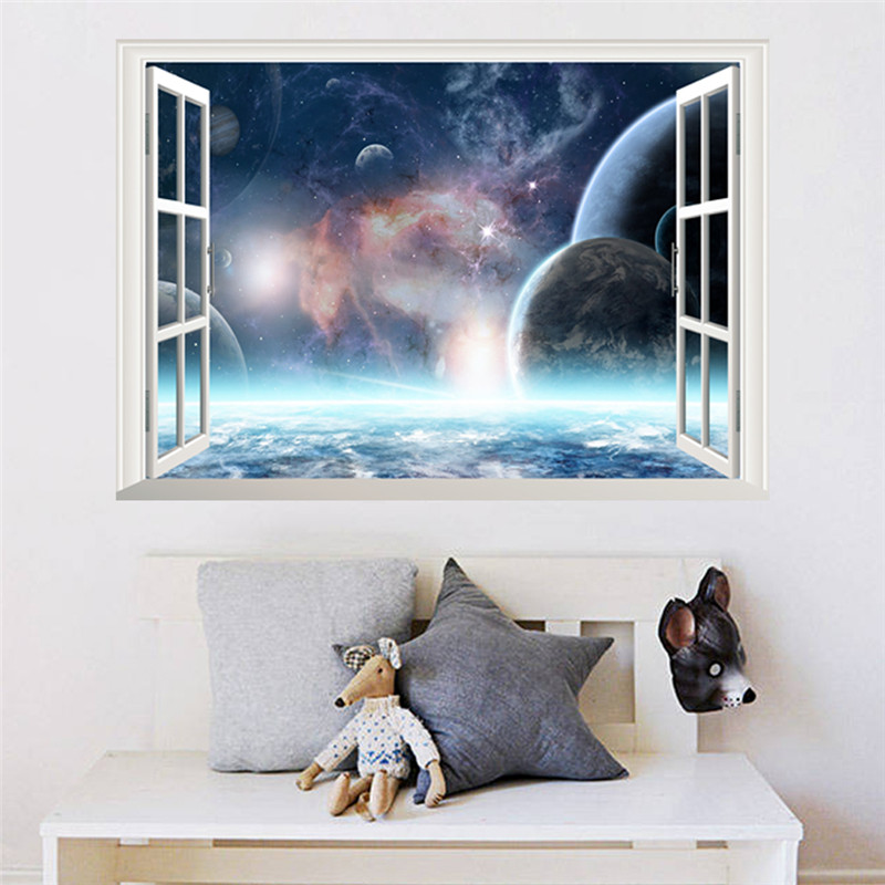3d effect galaxy wall sticker outer space planet stickers wallpaper 3d window scenery wall. Black Bedroom Furniture Sets. Home Design Ideas