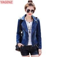 YAGENZ Denim Jacket Womens Short Coat Jeans Jackets Women Top Spring Autumn Bomber Jacket Slim Female student Wild Denim Coat887