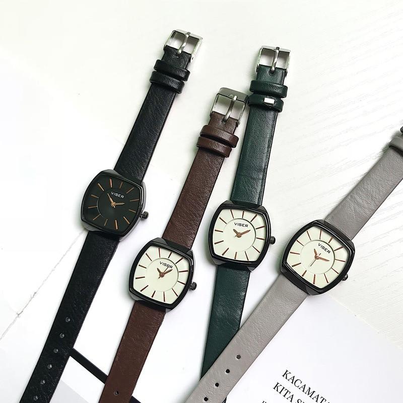 Simple Vintage Leather Women Watches Designer Square Female Fashion Wristwatches High Quality Casual Elegant Ladies Quartz Watch