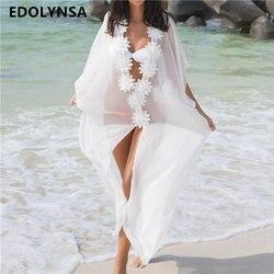 Beach cover up sexy v neck chiffon swimwear ladies kaftan beach tunic robe de plage bathing.jpg 250x250