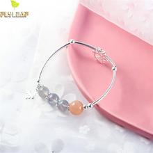 Flyleaf 925 Sterling Silver Nature Moonstone Beads Six-star Charm Bracelets For Women Fashion Fine Jewelry & Bangles