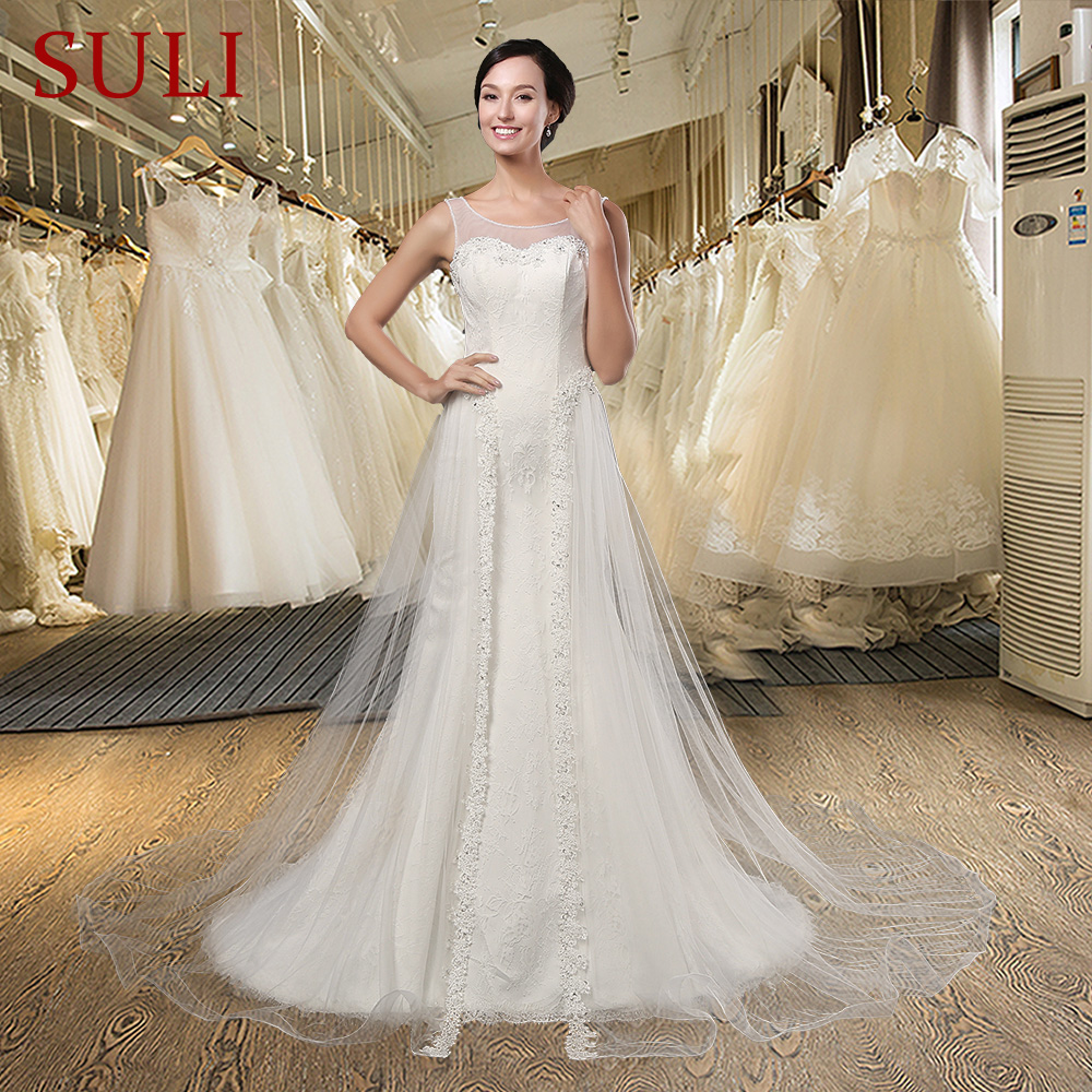 Z-Thanh Lịch Mở Lại Tulle Ren Appliques Mermaid Wedding Dress