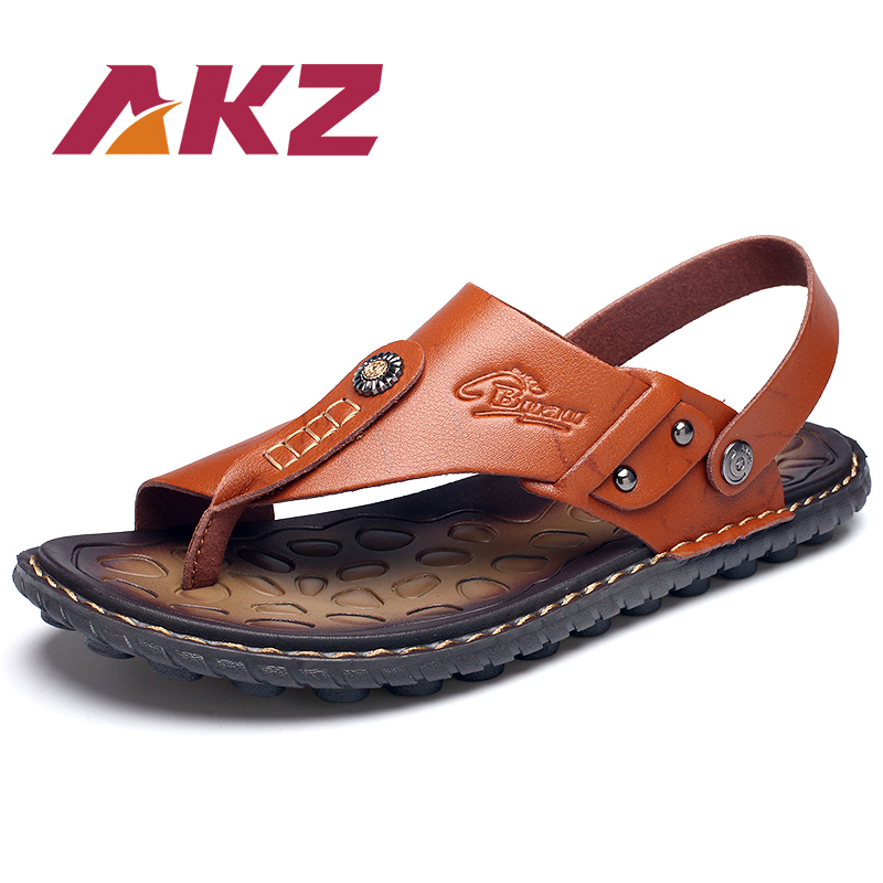 AKZ Men Sandals Flip-Flops Flat-Shoes Outdoor-Slippers Comfortable Male Genuine-Leather