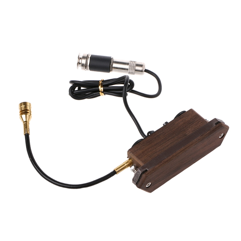 Wood Color Rosewood Acoustic Guitar Dual Coil Soundhole Pickup with Microphone yibuy rosewood wood color magnetic dual coil soundhole pickup with microphone for folk guitar
