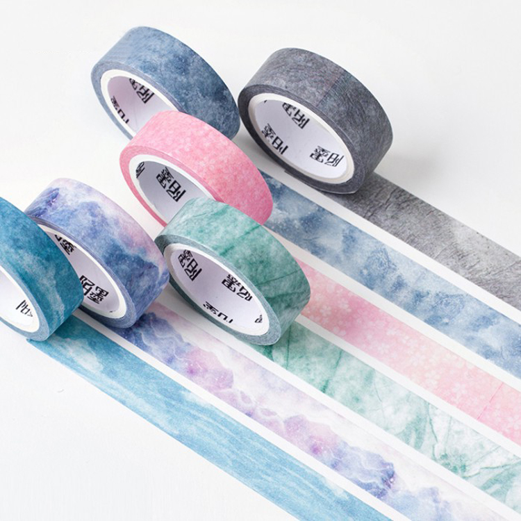 Nature Color Washi Paper Set Blue Sky Purple Star Pink Scrapbooking Deco Paper Masking Tapes Stationery School Supplies