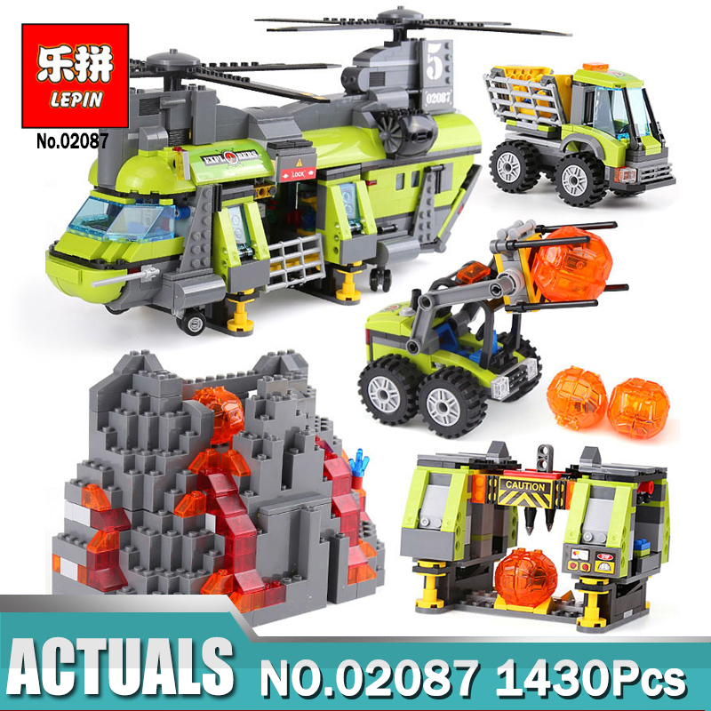 Lepin 02087 New City Series 1430Pcs The Volcano Heavy-Lift Helicopter Set Compatible Legoing 60125 Building Bricks Kits Toys hot city volcano heavy lift helicopter building block transporter truck forklift expedition figures bricks 60125 toys for gifts