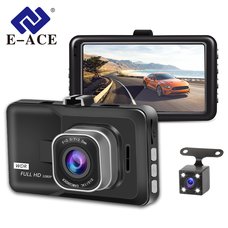 E-ACE Car DVR Camera Registrator Dash-Cam Video-Recorder Dual-Lens Mini 1080P With FHD