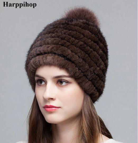2016 Nueva piel de visón Auténtico lujo hat para la mujer Otoño invierno gorros sombrero con pompones de piel de moda de piel Ruso fábrica de tapas venta