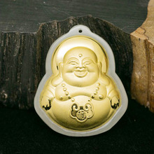 Yu xin yuan Fine jewelry  Hetian 24K gold  jade inlay Jade Buddha necklace trendy charm pendant for lovers gifts