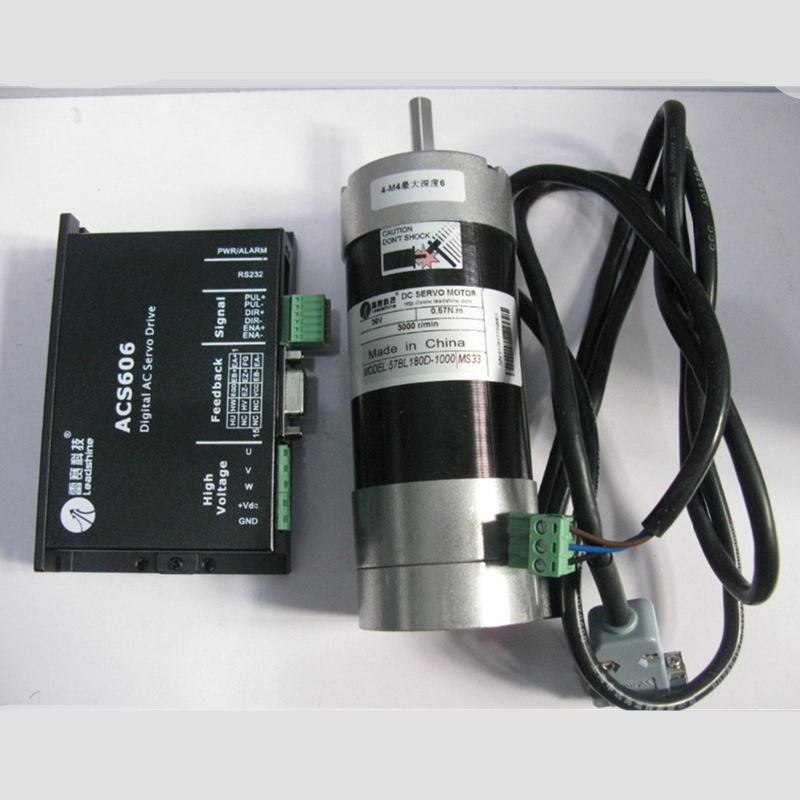 Leadshine 180W Brushless Servo DC Motor+Drive Kits 57BL180D-1000+ACS606 Brushless Controller 36V Circular Flange 82ozin 0.57NM free shipping 1000w 36v dc brushless