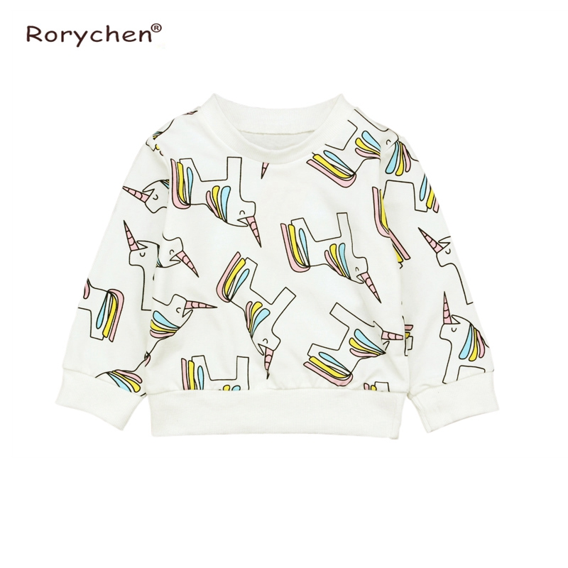 Rorychen 2018 New Cartoon Unicorn Printed Long Sleeve Children Worsted Sweater Boy Girl Pullover Tops Shirts Sweatshirt Clothing in Hoodies Sweatshirts from Mother Kids