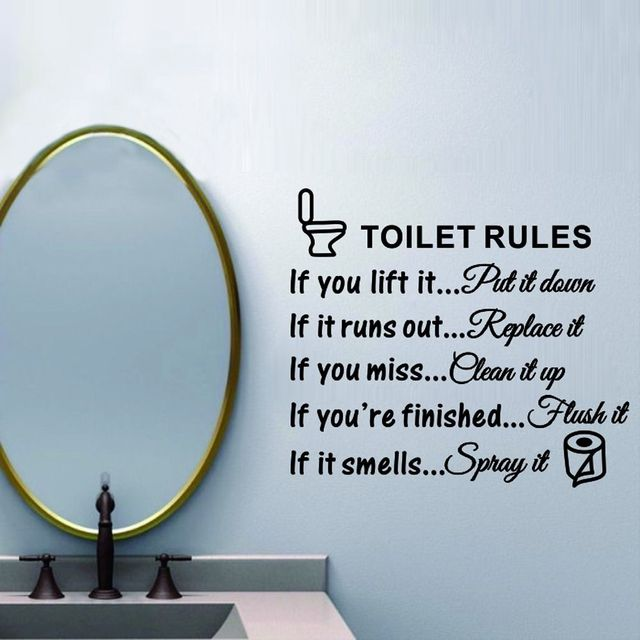 Toilet Rules Bathroom Toilet Wall Sticker Vinyl Art Decals DIY Home  Decoration