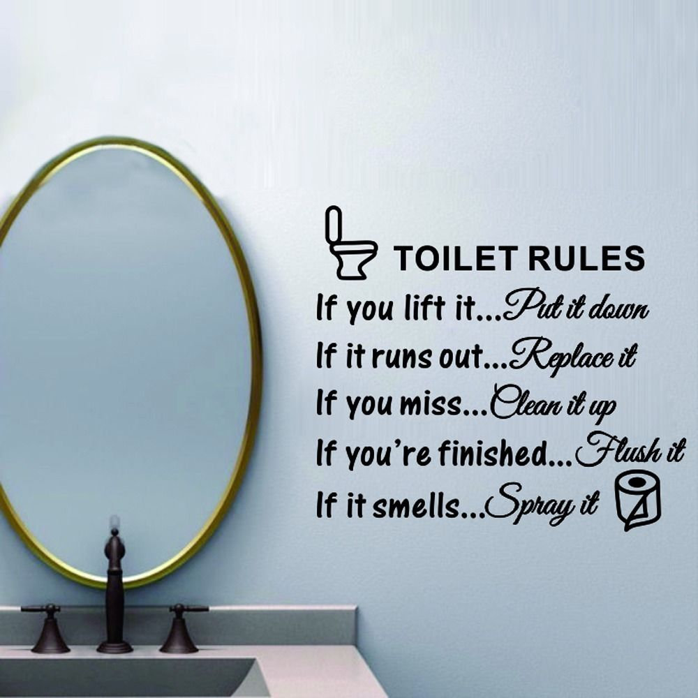 Removable wall decals for bathroom - Toilet Rules Bathroom Toilet Wall Sticker Vinyl Art Decals Diy Home Decoration China Mainland