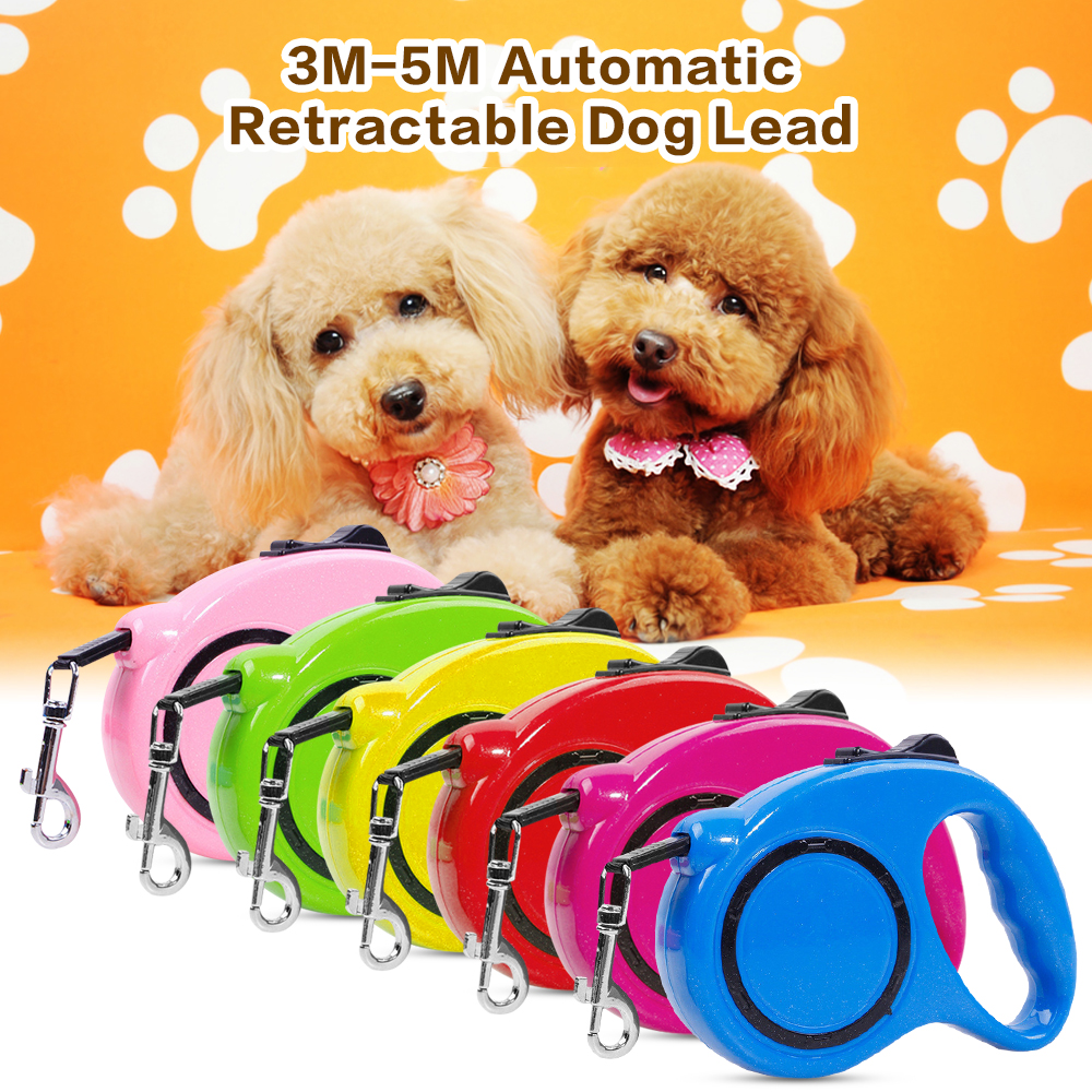 Solid 3M 5M One-handed Lock Retractable Dog Leash Automatic Extending Pet Walking Leads For Small Medium Dogs Dog Accessorries