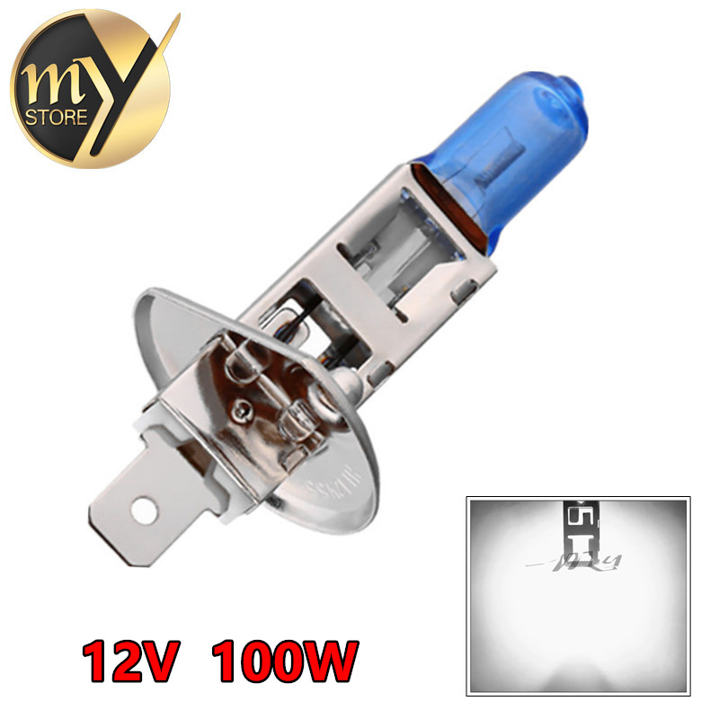H1 100W 12V Halogen Bulb Super Xenon White Fog Lights High Power Car Headlight Lamp Car Light Source parking 6000K 2pcs halogen bulb h7 55w super xenon white fog lights h7 car headlight lamp high power car light source parking 6000k auto
