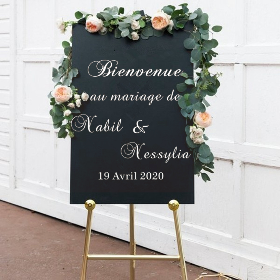 Personnaliser Mariage Signe Personnalisé Lieu bienvenue décoration Avis Sticker Vinyl Decal 1