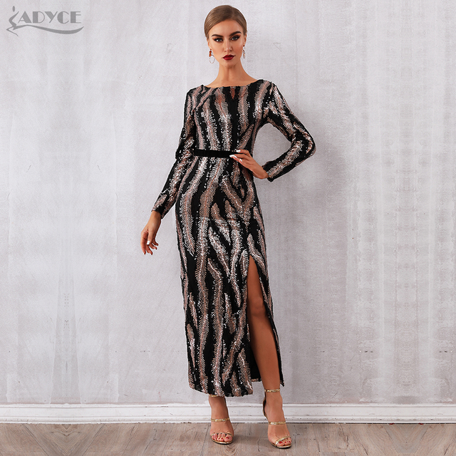 Adyce 2019 New Winter Sequin Celebrity Evening Runway Party Dress Women Vestidos Sexy Backless Maxi Long Sleeve Night Club Dress
