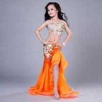 Новые детские девушки костюмы танец живота кружева сексуальная одежда индийские костюмы длинная юбка в этническом стиле Одежда для танцев