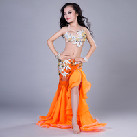 New Kids Girls Belly Dance Costumes Lace Sexy Clothes Indian Costumes Long Skirt Tribal Dance Wear Professional Costumes DN1608
