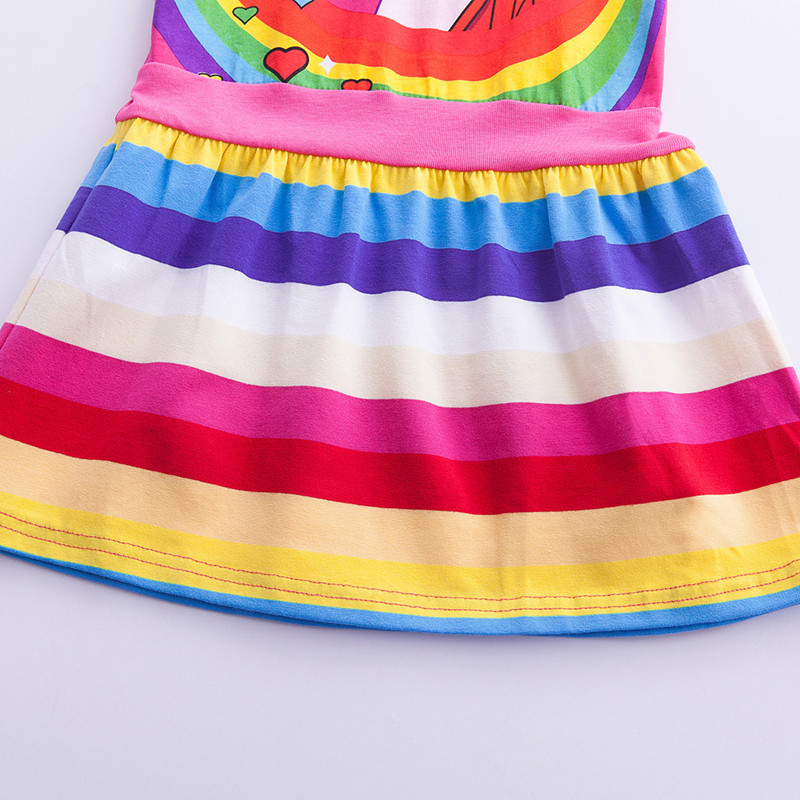 Girls Unicorn Dress Costume 2019 Summer Children Cotton Cartoon Rainbow Unicorn Dress Baby Girls Casual Dresses For Kids Clothes (2)