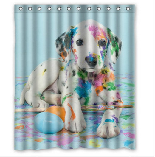 Fashion Designed Easter Dalmatain Puppy Polyester Shower Curtain 60