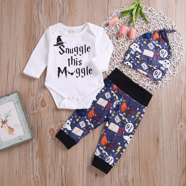 Newborn Baby Clothing Set 2018 Summer Autumn letter print muggleTops +Pants+Hat bebe kids Infant Boys Girls Clothes Outfits 3