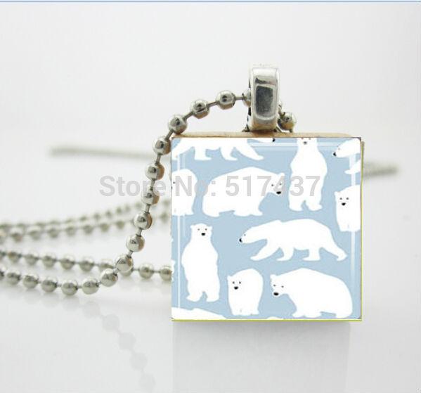 3 шт. Белый Медведь Ожерелье Зима Рождественские Украшения Эрудит Плитка Подвеска Рождественский Подарок ожерелье