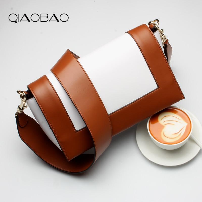 QIAOBAO 2018 women bag women messenger bag 100% leather bag handbags women famous brands Shoulder Crossbody Bags bolsa feminina