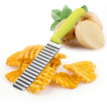 New Stainless Steel Potato Chips Wavy Cutter Dough Vegetable Crinkle Slicer Knife Corrugated Knife Kitchen Accessories