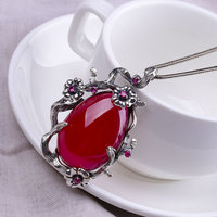 S925 sterling silver jewelry Thai silver handmade red fused alumina pendant sweater accessories women's pendant