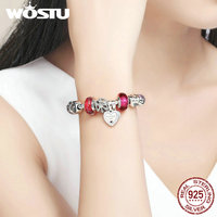 WOSTU New Bất 925 Sterling Silver Bạc Friendship Người Bạn Của Của Tôi Hạt Charm Bracelet Đối Với Phụ Nữ Sang Trọng Bạn Gái Đồ Trang Sức Quà Tặng DYB014