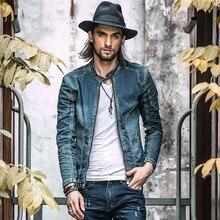 Хлопковая джинсовая куртка Мужские повседневные джинсовые куртки размера плюс мужские винтажные джинсовые пальто высокого качества Осенняя модная мужская одежда A1549