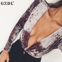 GZDL Fashion Autumn Plunge V Neck Women S Velvet Bodysuits Playsuits Long Sleeve Solid Skinny Fit
