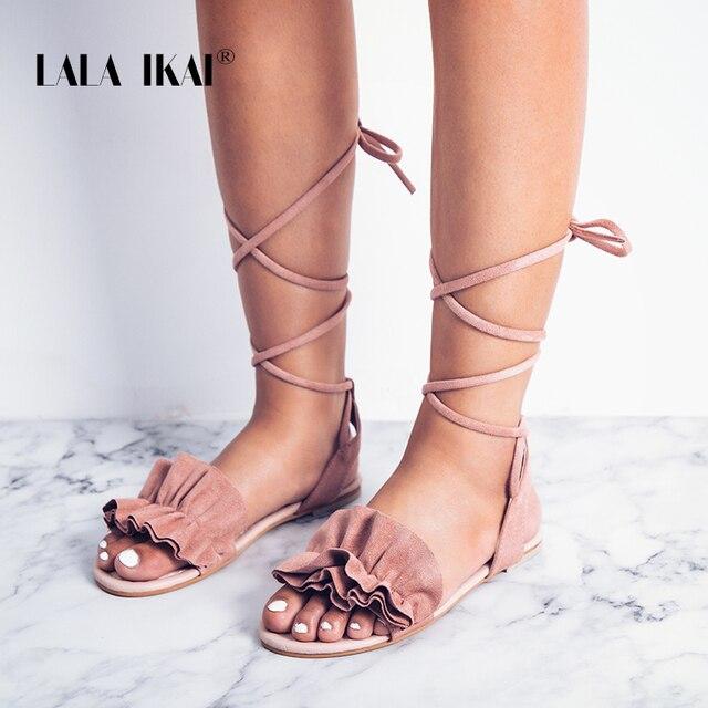 712208d71b6 LALA IKAI Bohemia Ankle Strap Flat Ruffle Sandals Shoes Lace Up Women  Flower Beach Sandals Shoes Chaussure Femme 014A1932 -49