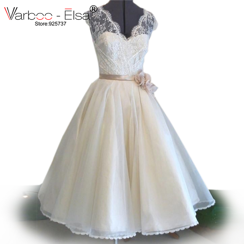 Tea Length Lace Wedding Ball Gowns V Neck Short Wedding Dress Real Photo Champagne Vintage Wedding Dress Vestido De Noiva Praia