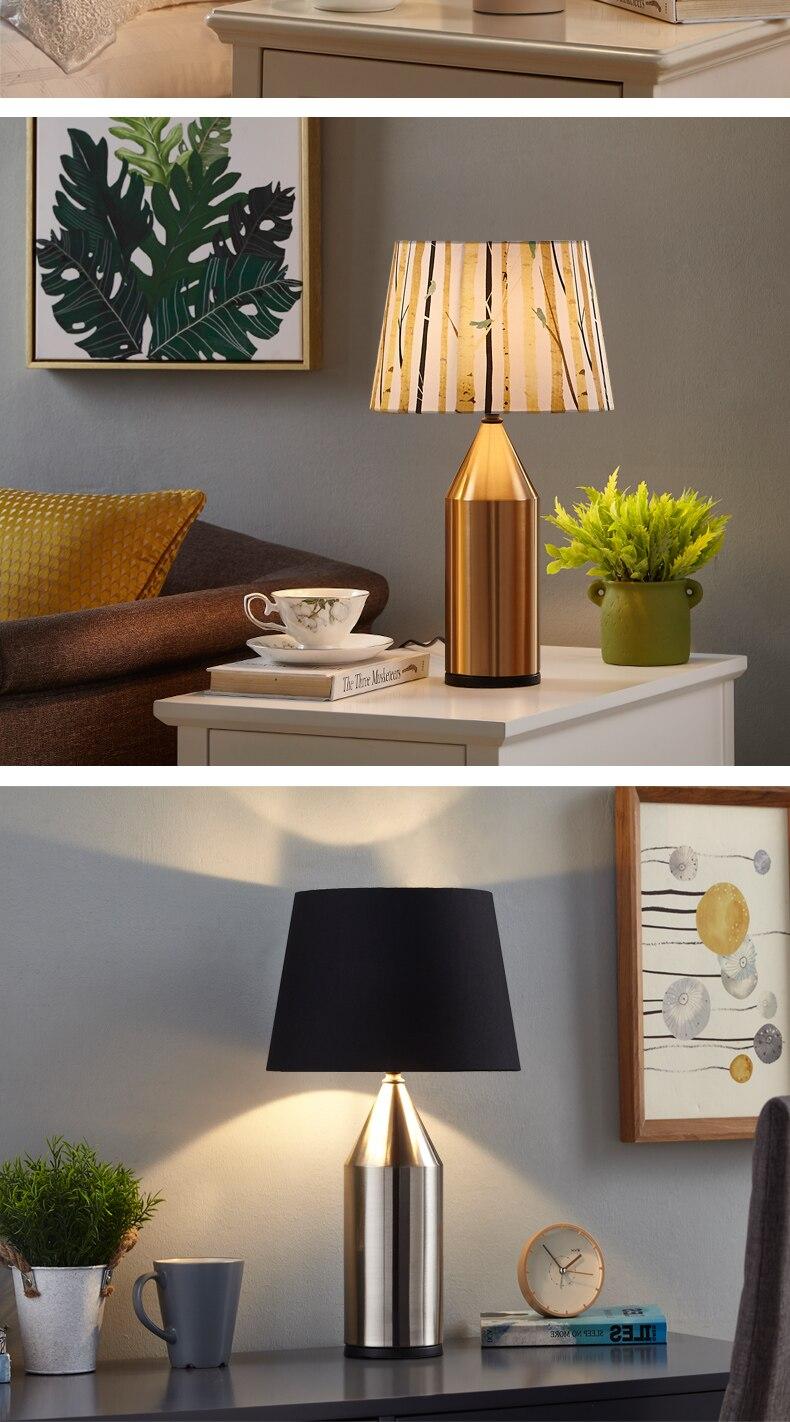 Lampe de Table moderne en métal Art déco lampe de chevet pour chambre salon Macarons gommage métal Art bureau lampe de bureau 6 couleurs - 4