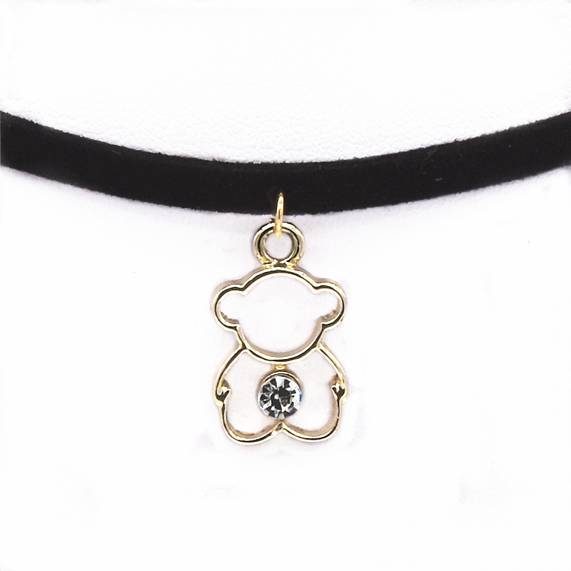 Torques Collar Necklace Women Black Choker Necklace Velvet Leather Maxi Statement Bear Pendant Necklace For Women 2017 Jewelry
