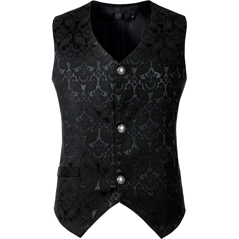 Black Jacquard Single Breasted Vest Men 2019 Fashion Gothic Steampunk Victorian Brocade Waistcoat Men Stage Cosplay Prom Costume