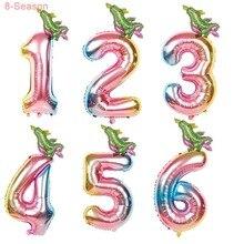 8-Season 2Pcs 32inch Gradient Dinosaur Balloons Kids Happy Birthday Decorations Jungle Party