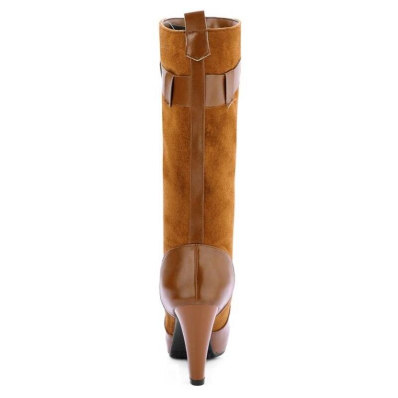 Toe Ronda Negro Knight 43 Rodilla marrón Spike Femenina Calidad Heel Botas Tamaño azul Kemekiss 33 Alta Zapatos Tacones Boot Mujer Hebilla w5qx0UTnRE