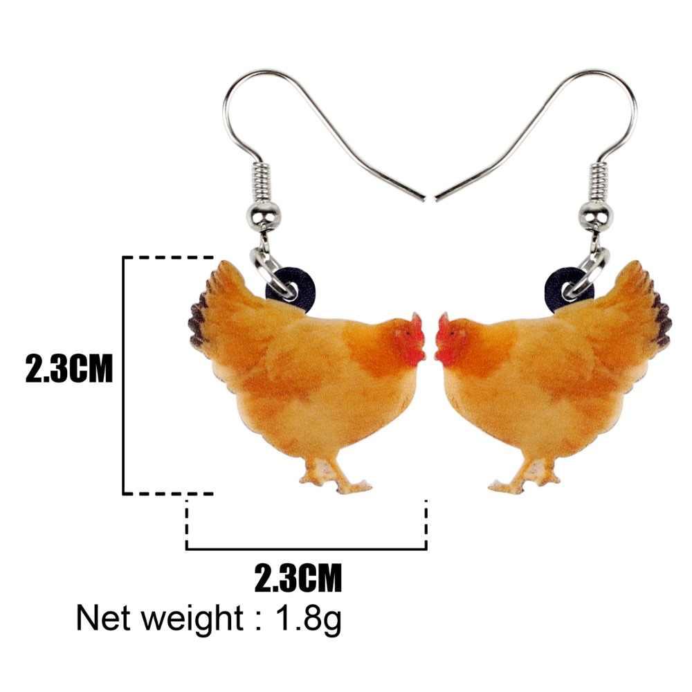Bonsny Acryl Cartoon Fettsäuren Huhn Huhn Ohrringe Big Lange Baumeln Neuheit Schmuck Für Frauen Mädchen Geflügel Bauernhof Tier Charme