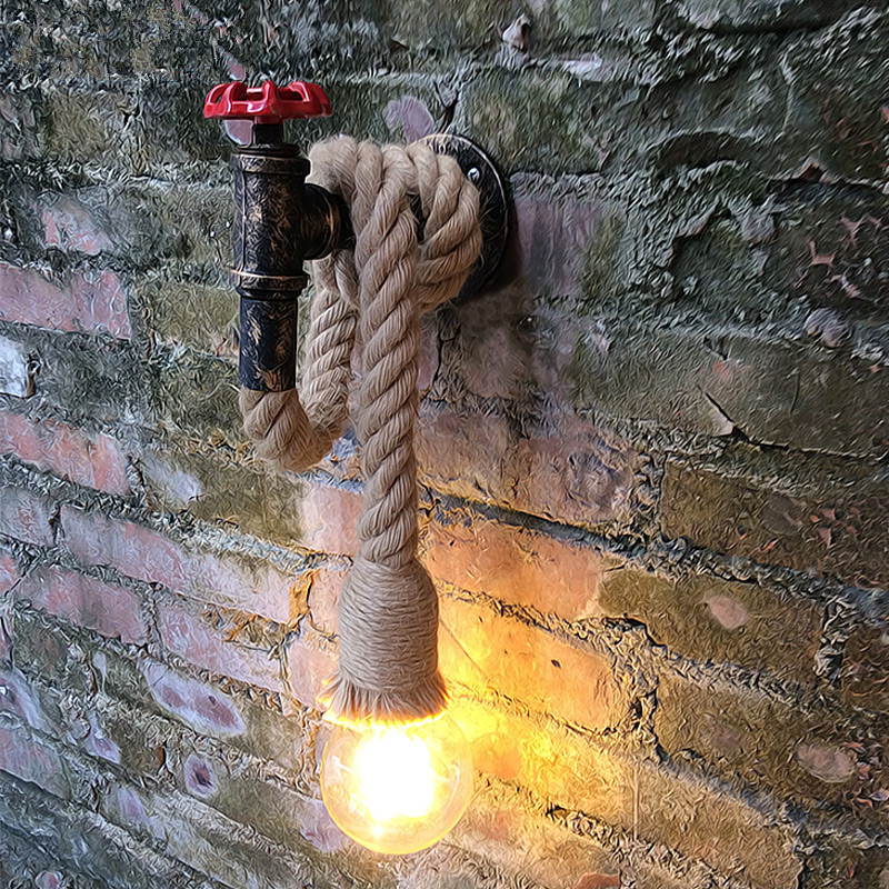 ФОТО Iron Water Pipe Industrial Vintage Wall Lamp Hemp Rope Retro Wall Sconce Fixtures For Home Lightings Cafe Bar Living Room