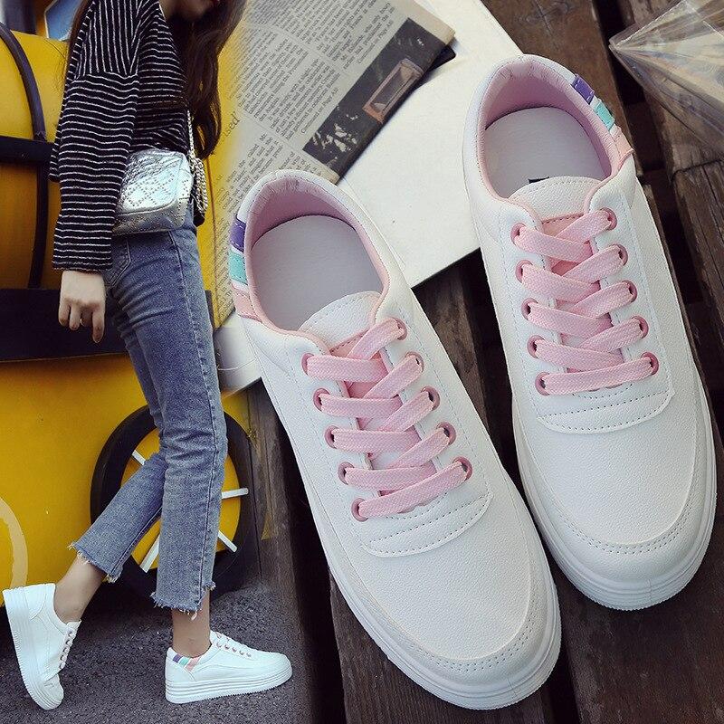 Sneakers Décontractées Été Femmes 2019 Pour Rose blanc Vulcaniser Plate Chunky Chaussures forme Femme Printemps Mode vztqnw