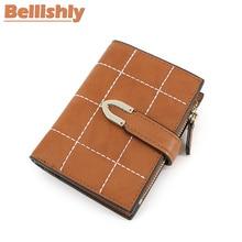 Купить с кэшбэком Bellishly women wallets party Fashion Small Female Purse short purse Lady stripe grid Snap Fastener Zipper Clutch Vintage Wallet