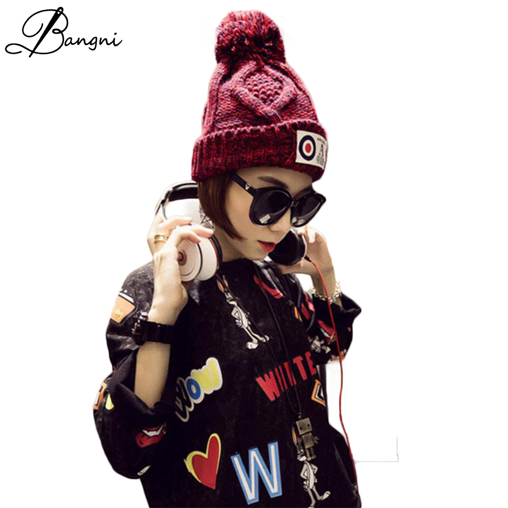 New Crocheted Women Unisex Knitted Winter Casual Beanies Solid Color Hip hop Snap Slouch Skullies Bonnet beanie Hat Gorro
