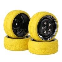 4x RC1 10 On Road Car Yellow Arrow Rubber Tyre Black Alloy Wheel Rim W Screws