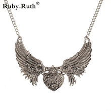 European fashion Vogue Chic Rhinestone Angel Wings Collar Gold Color Chain Women Dresses font b Necklace