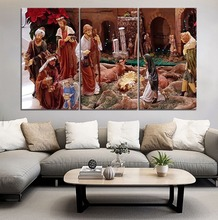 Cartoon The World Waits For Birth Of Jesus Painting 3 Piece Canvas Print Type Modern Home Decorative Wall Artwork Poster